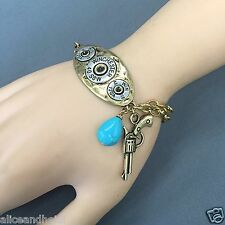 Antique Gold Chain Winchester Pistol Turquoise Stone Charms Bangle Bracelet