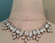 Opia Statement Necklace Goldtone White and Clear Stones 19""