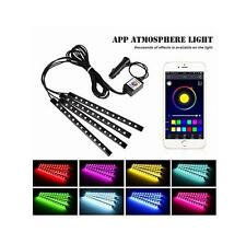 Car Under Dash Lights 12 LED Phone App Music Control Glow Strip Interior Neon