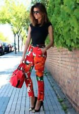 ZARA ORANGE FLORAL PRINT TROUSERS PANTS SIZES XS & M STUNNING