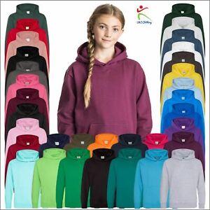 AWDis Kids Hoodie Plain Casual Boys Girls Hooded Sweatshirt Jumper Pullover Top