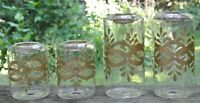 Vintage Set of 4 Glass Hand Painted Tea Light Candle Holders