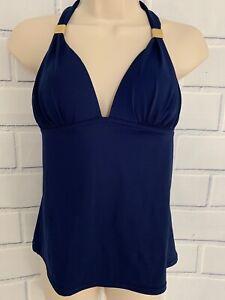 Victoria's Secret Med Padded Plunge Halter Blue Tie Swim Tankini Top Swimsuit