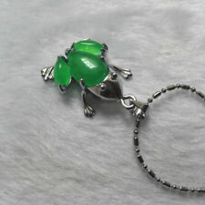 Box Chain Tibet Green Silver Natural Pendant Necklace Jade Frog