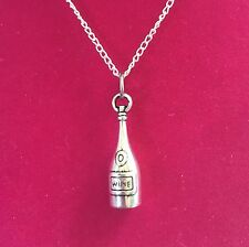 & Wine - Wine Bottle Charm Necklace (Silvertone) - Food