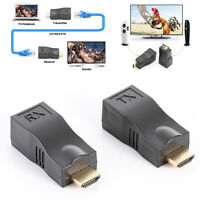30m 1080P 4k HDMI to RJ45 Extender CAT5E CAT6 Cable Network Converter Repeater