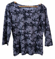Laura Ashley Black/White Floral Summer Shirt Top Casual Cotton 3/4 Sleeve (8/10)