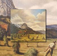 Alpines Erntegemälde. Original altes Ölgemälde, schöne Berglandschaft, signiert