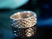 925 Silber Ring Durchbrochen Unisex Verschlungen Freundschaft Charmant Celtic