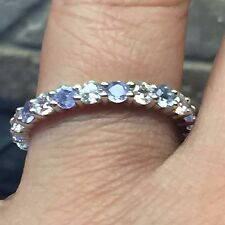Natural 2ct Tanzanite Accent 925 Solid Sterling Silver Eternity Band Ring 9.25