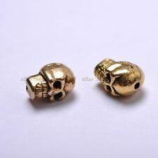 20Pcs TIBETAN SILVER & GOLD & BRONZE Skull Bone,Charms Spacer BEADS 10X8MM BE41
