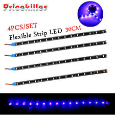 4PCS Chic 15 LED 30cm 3528 SMD LED Light Flexible 12V Car Decor Waterproof Blue~
