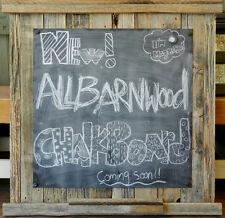 """Natural Barn Wood 20"""" x 20"""" Rustic Magnetic Chalkboard Note Holder Message Board"""