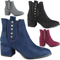 Womens Ladies Faux Suede Zip Stud Mid Heel Work Chelsea Ankle Boots Shoes Size