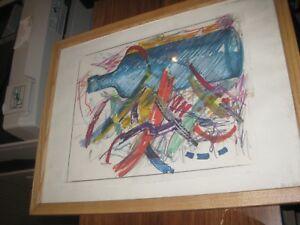 "Original ROBERT DOWD SIGNED pastel pen botle 17"" X 13"" ART 1991"
