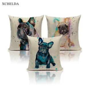 Cushion Cover French Bulldog Print Creative Dog Thro Pillow Case Colorful Animal