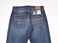 Nudie Jeans Steady Eddie Org. Whistle Blue Men Jeans In Size: 33/32