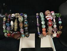 Vintage Bracelet Murano Glass/cake Deco Glass Flower Beads/Czech/plasticStretch
