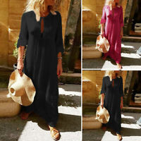 Women Long Sleeve Button Up Vintage Solid Loose Flare Hollow Out Long Maxi Dress