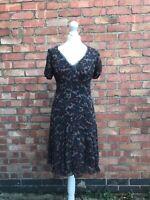 Jigsaw Brown 100% Silk V Neck Dress Size 10 Knee Length Smart Dress B17