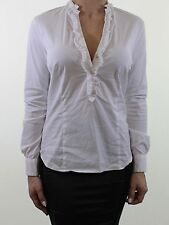 Zara Patternless V Neck Long Sleeve Tops & Shirts for Women