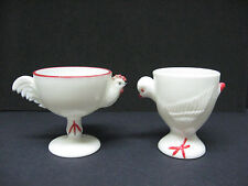 LOT 2 VINTAGE jumbo FOOTED westmoreland ROOSTER CHICK egg cups MILK GLASS eggcup
