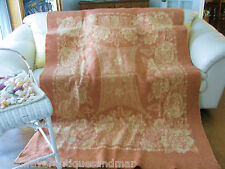 Vintage JC Penny Golden Dawn Rose Floral Brick Tan Reversible Wool Blanket 84x60