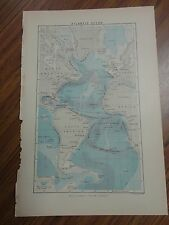 Nice color map of the Atlantic Ocean region. Printed 1888 by Chambers.