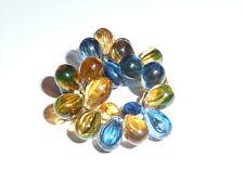 Beautiful Czech Glass Tear Drop Beads - Mixed Yellow & Blue Striped (25) 9mm