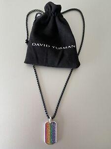 David Yurman Steamline Rainbow Pave Tag with  stainless steel box chain 26 inch