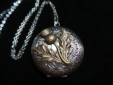 ANTIQUE SILVER SCOTTISH THISTLE LOCKET  LARGE