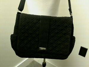 VERA BRADLEY MESSENGER BABY BAG IN QUILTED CLASSIC BLACK W/CHANGING PAD EUC