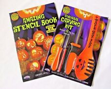 Halloween Pumpkin Carving Kit 4 Tools 6 Stencils Extra Book Of 10 Stencils