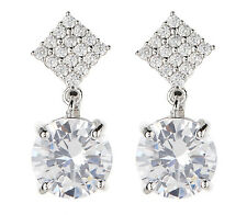 CLIP ON EARRINGS - silver luxury earring with a clear stone & crystals - Cleo