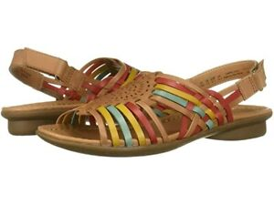 NIB ~NATURALIZER WHISTLE CAMEL & MULTI GENUINE LEATHER STRAPPY WOVEN SANDALS~ 8M