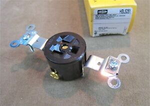 NOS! HUBBELL NO.HBL-5251 SPECIFICATION GRADE SINGLE RECEPTACLE 15A 125V SIDE WIR