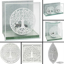Mirror Tree Of Life Silver Tea Light Candle Holders Home Centerpieces Oil Burner