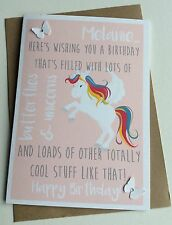 Personalised Handmade Birthday Card: Butterflies Unicorns (Funny Quirky Unique)