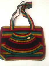 Mexican Purse striped Rasta colors Green, Red Yellow & Black with front pocket