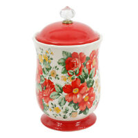 "Canister w Acrylic Knob 10"" Pioneer Woman Rustic Vintage Farmhouse Floral Chef"