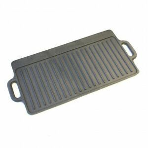 Large Non Stick Cast Iron Griddle Pan Skillet Cooking Plate Hob Stove BBQ Grill