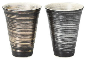 Arita Gold&Silver brush countertype pair cup Japonisme Porcelain Made in JAPAN!!