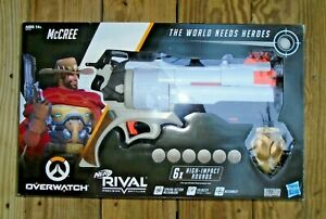 NERF Overwatch McCree Rival Blaster with Die Cast Badge & 6 Overwatch Rival R...