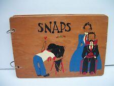 Vintage Snapshot Photo Album Wooden Covers Hand Painted Souvenir Wisconsin Dells
