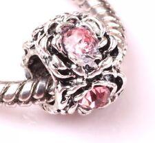 Pink Flower Charm - Silver Tone -  Suits Pandora Charm Bracelet - Pink Stones