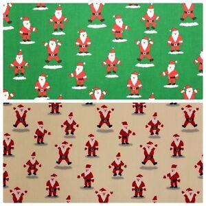 "Premium Printed PolyCotton, Christmas Happy Santa, 2 Col, High Quality, 44"" Wide"