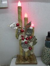 Vintage Christmas Large Mirostar Gold Foil Candolier 3 Light Candle C9 IOB
