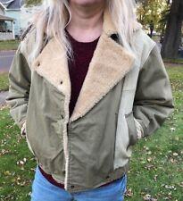 Vintage 80's Women's Bomber Jacket Canvas Leather Sheepskin Medium snap across