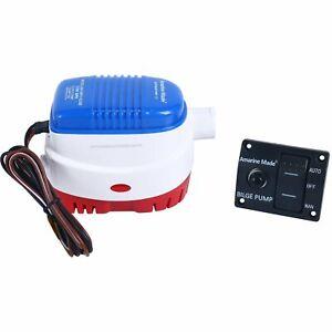 12v 1100gph Auto Pump &  LED Rocker Bilge Control Switch Panel