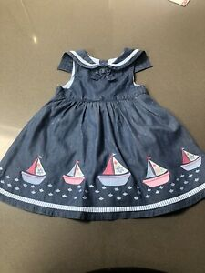 Baby Girl Jojo Maman Bebe Sailor Dress Boats Age 6-12 Months